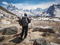 Trekker Walking the Everest Base Camp Trek in Nepal Royalty Free Stock Photo