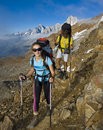 Trekking in alps mountains Royalty Free Stock Photography