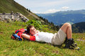 Trekking boy at rest Royalty Free Stock Photography