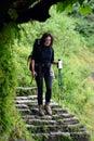Trekking girl in the annapurna circuit nepal himalaya mountains Royalty Free Stock Images