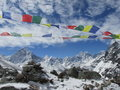 Trekking in the himalayas nepal asia on way to everest base camp prayer flags and mountain Royalty Free Stock Images