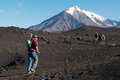 Trekking on the kamchatka russia Stock Photo