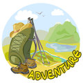 Trekking outfit in a mountain landscape vector illustration Royalty Free Stock Photos