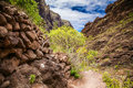 Trekking path in the beautiful canyon Masca Royalty Free Stock Photo