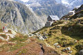 Trekking in swiss alps the Stock Photography
