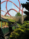 Tren al roller coaster Imagen de archivo libre de regalías