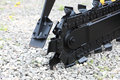 Trench digger machine for trenching Royalty Free Stock Photo