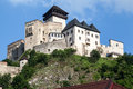 Trencin castle slovakia the on top of a hill with its towers and fortified walls Royalty Free Stock Photo