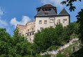 Trencin castle slovakia the on top of a hill with its towers and fortified walls Stock Photos