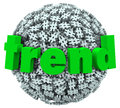 Trend word hashtag tag number sign d sphere on a ball or of signs or symbols to illustrate a fun current trending topic or an Royalty Free Stock Photos