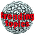 Trending topics hot post update message hash tag pound symbols the words on a ball or sphere of tags to illustrate news buzz or Stock Photography