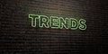 TRENDS -Realistic Neon Sign on Brick Wall background - 3D rendered royalty free stock image
