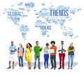 Trends World Map Marketing Ideas Social Style Concept Royalty Free Stock Photo