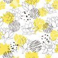 Trendy abstract yellow and grey waterlilies or lotus flower seamless vector pattern background