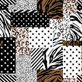 Trendy animal skin mixed with geometric pattern ,polka dots and stripe in modern patchwork collage style seamless design