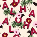 Trendy and Beautiful seamless 3D typo ALOHA mix with summer moti Royalty Free Stock Photo