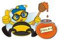 Trendy bee near thw opened bank of honey