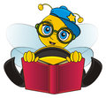 Trendy bee reading a book Royalty Free Stock Photo