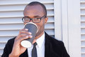 Trendy black man have coffee break Royalty Free Stock Photo