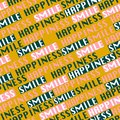 """Trendy color Typo diagonal line seamless pattern vector in wording """"HAPPINESS and Smile"""" postitive mood design for fashion, Royalty Free Stock Photo"""