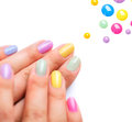 Trendy colourful manicure nail polish Stock Image