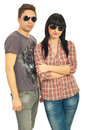 Trendy couple with sunglasses Royalty Free Stock Photos