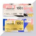 Trendy elegant gift voucher card templates. Modern luxury discou