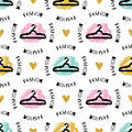 Trendy fashion seamless pattern Sketch clothes hanger Artistic graphic design Royalty Free Stock Photo