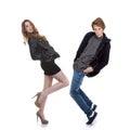 Trendy fashion teens posing or dancing Stock Image