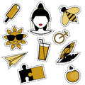 Trendy fashionable pins, patches, badges, stickers, flash tattoos in black and golden colors