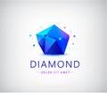 Trendy flat design facet crystal gem shape logo element.