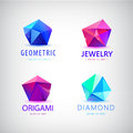 Trendy flat design facet crystal gem shape logo element d shiny jewelry modern Royalty Free Stock Photos