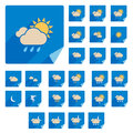 Trendy flat weather icon set with long shadow vector Stock Photos