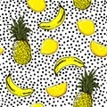 Trendy and fresh hand sketch summer fruits lemon,pineapple,banana,seamless pattern vector layer on painting black polka dots for