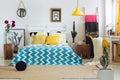 Trendy geometric bedroom, vivid colors Royalty Free Stock Photo