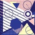Trendy geometric elements memphis greeting cards design. Retro s