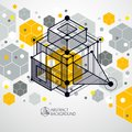 Trendy geometric vector pattern, textured abstract cube mesh yel
