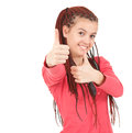 Trendy girl with african plaits and thumbs up Royalty Free Stock Photos