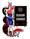 Trendy girl on fashion dress and sunglasses. Fashion model posing. Vector illustration.