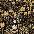 Trendy gold texture.Vector gold seamless pattern, floral texture with flowers and plants.