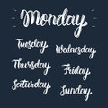 Trendy hand lettering set of days of the week, fashion graphics, art print.