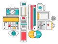 Trendy lifestyle office object icons flat design thin line modern style illustration vector set of supplies and business objects Royalty Free Stock Image