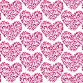 TRENDY LOVE FLORAL SEAMLESS VECTOR PATTERN. DIVERSE SYMBOL HEART ART TEXTURE. VALENTINES DAY BACKGROUND Royalty Free Stock Photo