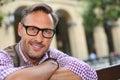 Trendy man with eyeglasses looking at camera Royalty Free Stock Photo
