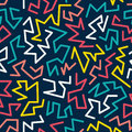 Trendy memphis style seamless pattern inspired by 80s, 90s retro fashion design. Colorful festive hipster background Royalty Free Stock Photo
