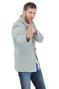 Trendy model posing wearing a blazer on white background Royalty Free Stock Photo