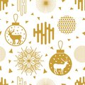 Trendy New Year background. Seamless vector pattern with fir trees, Christmas balls, snowflakes and abstract geometric elements.