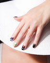 Trendy painted nails about travelling Royalty Free Stock Photo