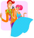 Trendy retro couple of singers - 2 Royalty Free Stock Photos