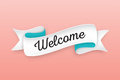Trendy retro ribbon with text Welcome. Colorful banner with ribb